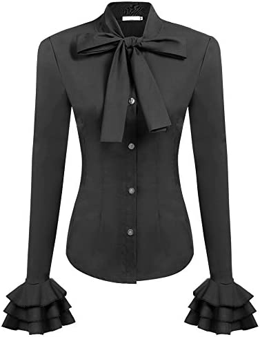 Zeagoo Womens Bow Tie Neck Blouse Long Sleeve Casual Work Office Tops Button Down Shirts Black product image