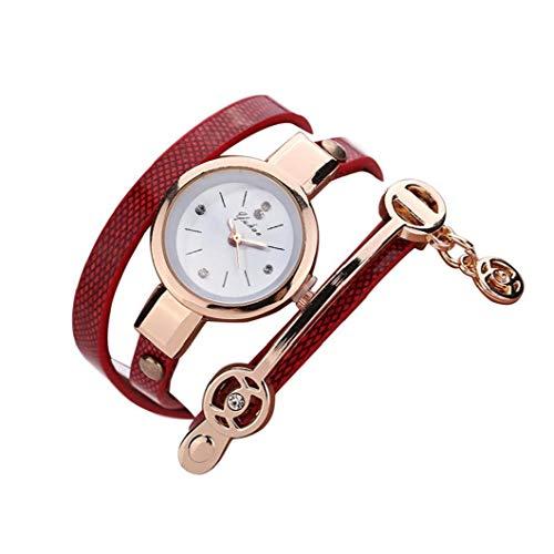 TOPofly Piel 1PC Pulsera de Mujeres del Reloj Creativo Capas Multi Wrap Around de Cuero Pulsera de Relojes de señora Girls Hombres (Rojo) para Time