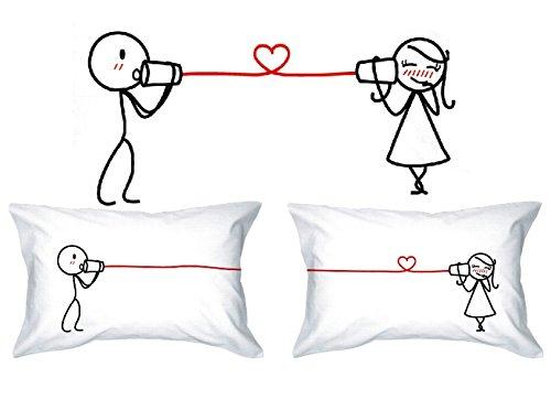 Human Touch - Amor EL SUSURRO - De El y de Ellas - Fundas de Almohada romántica Peculiar, Regalo de Boda, Regalo de San Valentín, o Simplemente para elevar una Sonrisa.