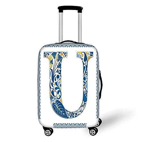 Reizen Bagage Cover Koffer Beschermer, Letter U, Azulejo Motieven Bloemen Typografie Retro Mozaïek Tegel Ontwerp Grafische Initiële Decoratieve, Blauw Geel Oranje, voor Reizen
