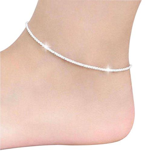 Aiuin caviglia bracciale donna bella signora argento placcato cavigliera catena caviglia braccialetto a piedi nudi sandalo spiaggia piede gioielli anello da piede cavigliera catena