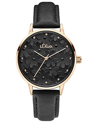 s.Oliver Damen Analog Quarz Uhr mit Leder Armband SO-3786-LQ