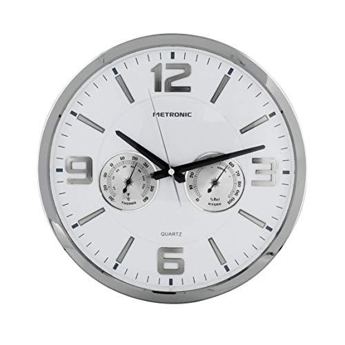 Metronic 477327 - Reloj de Pared Celsius, Moderno, Movimiento de Cuarzo, silencioso, con termómetro e higrómetro, diámetro 350mm, Grosor 50mm, Blanco.