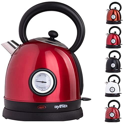 Grafner Retro Wasserkocher mit Temperaturanzeige, 2200 Watt, 1,8 Liter, Edelstahl-Korpus, Wunschfarbe, entnehmbarer Kalkfilter, kabellos, Überhitzungsschutz, BPA-Frei, Cool-Touch (Rot)