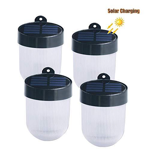 ZHANG Solarlampen voor buiten met bewegingsmelder, LED zonnelamp wandlamp IP65 waterdicht automatisch aan/uit (helderheidssensor) voor deur veranda trap treden (4 stuks)