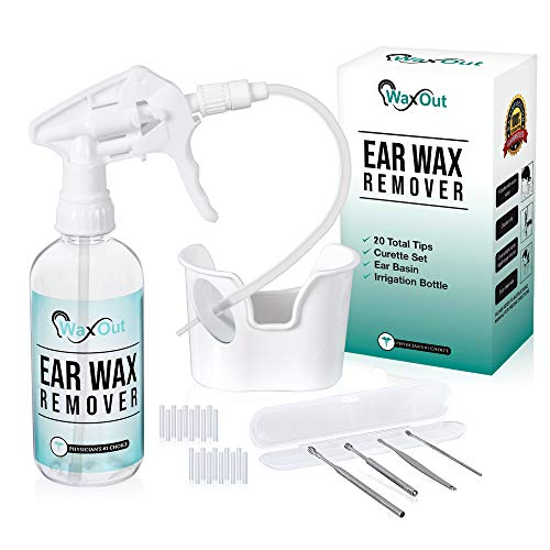 Ear Wax Removal Tool Kit, Earwax Cleaning Wash & Remover Irrigation System to Flush Ears Rx for Adults & Kids. 20 Disposable Tips, Curette Set.