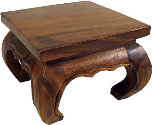 Guru-Shop Tavolo Opium, Tavolino da tè, Panca da Fiori in Legno Massello - Marrone 30x30 cm, Tavoli da Caffè Tavoli da Terra