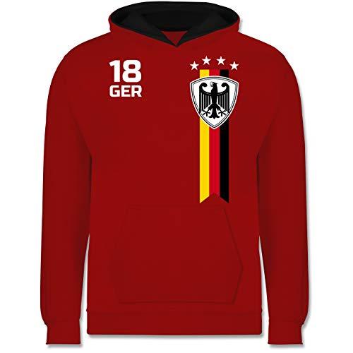 Fußball-Europameisterschaft 2021 Kinder - WM Fan-Shirt Deutschland - 140 (9/11 Jahre) - Rot/Schwarz - Fussball Trikot Kinder mit Namen - JH003K - Kinder Kontrast Hoodie
