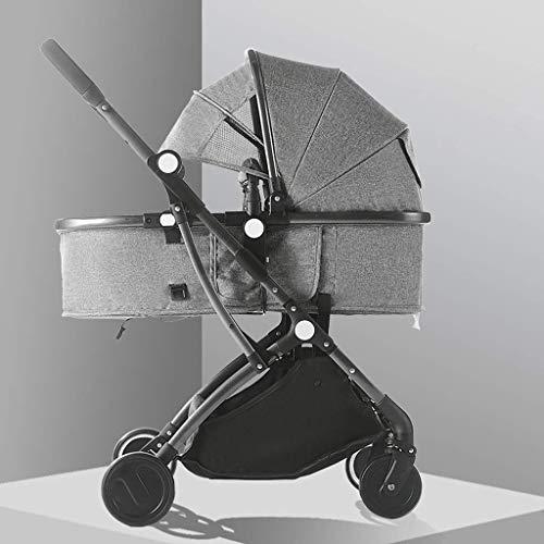 Cochecito de sillas de ruedas, cochecito plegable Cochecitos con cochecitos convertibles, carro de aluminio, arnés de 5 puntos y cesta de almacenamiento alta (color: gris) fengong ( Color : Gray )