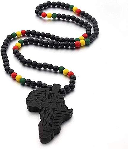 ZGYFJCH Co.,ltd Collar con Colgante de Mapa de África para Mujeres y Hombres, Colgante de Madera de Color, joyería etíope, mapas africanos, Regalo de Hiphop
