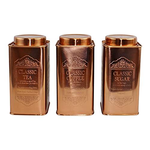 HoitoDeals - Contenitore per tè, caffè e zucchero, in metallo resistente, colore: rame