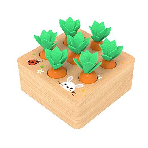 Montessori Spielzeug, Holz Memory-Spiele for Kinder, Pull Insert Möhre Matching-Spiel for Kinder ab 3 Jahre zcaqtajro