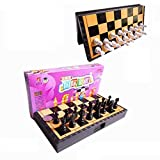 GAXQFEI Schach Set Tragbare Schachspiel Plastikschach Set Mit Schachbrett 32 Schachfiguren Schwarz...