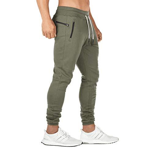 FEDTOSING Jogginghose Herren Fitness Spotshose Slim Fit Trainingshose Sweatpants Chino Baumwolle Taschen(DE194 Green M
