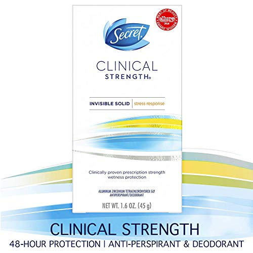 Secret Antiperspirant Deodorant for Women, Clinical Strength Invisible Solid, Stress Response, 1.6...