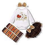 Halloween Outfits Newborn Baby Girl Pumpkin My First Turkey Day Romper+Ruffle Bowkont Shorts Fall Clothes Set (Turkey, 3-6 Months)