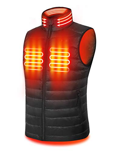 PTAHDUS Men's Heated Vest, Lightweight Heated Vest for Men with Neck Warmer. (Large) Black