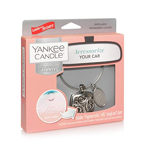 YANKEE CANDLE Pink Sands Starter Kit Square Profumatore per Auto, Multicolore, Unica