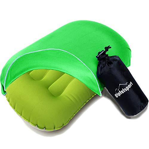 Campingkissen - Reisekissen I Aufblasbares Kissen für die Reise, Camping, Trelkking, Strand I Strandkissen, Kopfkissen, Schwimmkissen I Grün I mit Bezug