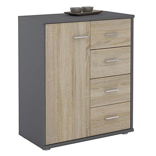 CARO-Möbel Kommode TIRANO Highboard Anrichte mit 1 Tür und 4 Schubladen in grau/Sonoma Eiche