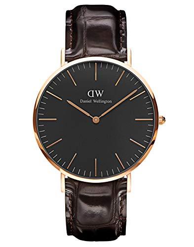 Daniel Wellington Classic York, Dunkelbraun/Roségold Uhr, 40mm, Leder, für Herren