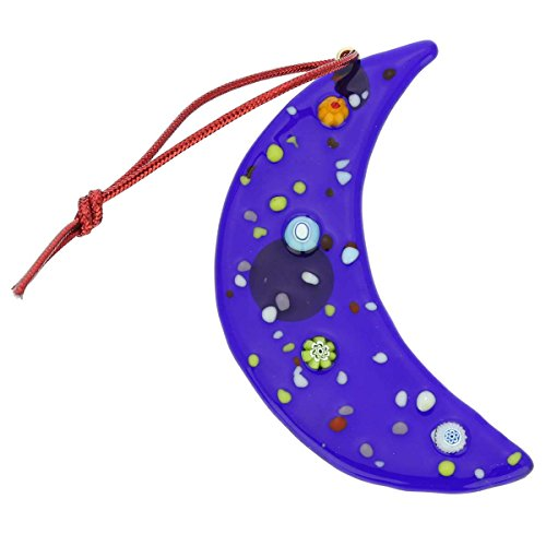 GlassOfVenice Murano Glass Moon Christmas Ornament - Blue
