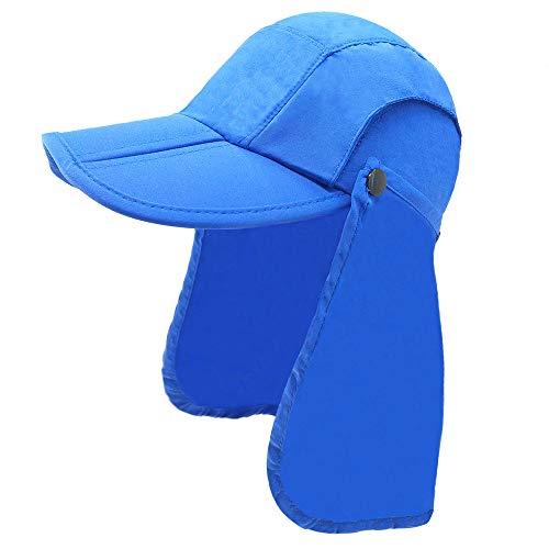 Gifts Treat Kinder Sonnenhut, Kinder Legionär Mütze Hut UPF 50+ Wasserdicht Faltbar Strand Schwimmen Hut (Blau, 48-52cm)