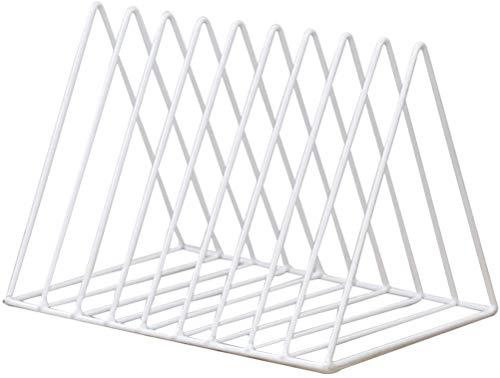FülleMore Bücherregal Schreibtisch Metall Zeitungshalter 9 Fächer Dreieck Bücher Aufbewahrung Organizer CD Ständer Magazinhalter für Studenten Kinder Erwachsene (26x18.5x17.8cm) (Weiß)
