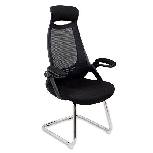 CashOffice - Silla Confidente Ergonómica, Silla de Oficina con Respaldo Transpirable y Reposabrazos Color Negro