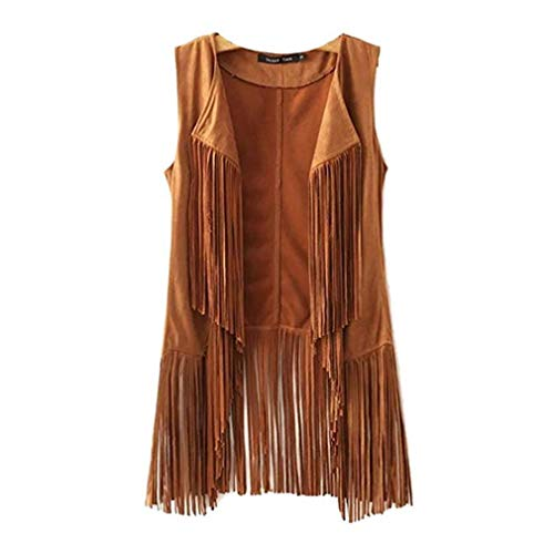 New Tassels Fringe Sleeveless Suede Vest Cardigan Waistcoat Jacket Outwear Tops,Khaki,Large