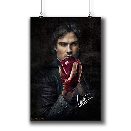 Pentagonwork The Vampire Diaries TV Photo Poster Prints 058-007 Damon Salvatore Ian Somerhalder Reprint Signed Casts,Wall Art Decor Gift (A4 8x12inch 21x29cm)