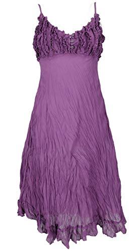 GURU SHOP Sommerkleid, Luftiges Krinkelkleid, Maxikleid, Strandkleid, Damen, Flieder, Baumwolle, Size:38, Lange & Midi-Kleider Alternative Bekleidung