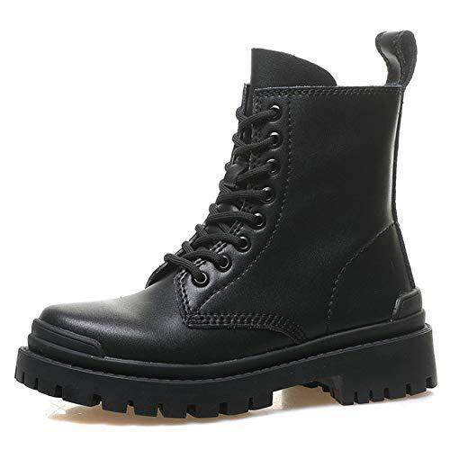 AQTEC Mujer de Combate Botas Plataforma Cordones Botas Militar Cuero Punta Redonda al Aire Libre Impermeable y Antideslizante Botas Motero Zapato,Negro,35 EU