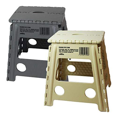 WHATNOT 折りたたみチェア 2脚セット サンドベージュ グレー フォールディング ステップ スツール アウトドア 椅子 踏み台 脚立 洗車 釣り フィッシング 折り畳みチェア