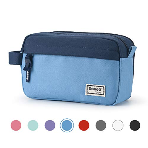 Sooez High Capacity Pen Case, Durable Pencil Bag Stationery Zipper Pouch, Portable Journaling Supplies with Easy Grip Handle & Loop, Aesthetic Supply for School Girls Teens Adults, Blue