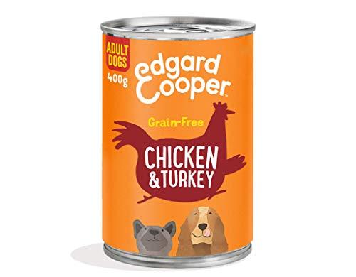 Edgard & Cooper Comida Humeda Perros Adultos Natural Sin Cereales, Latas 6x400g Pollo y Pavo Frescos, Fácil de digerir, Alimentación Sana Sabrosa y equilibrada, Proteína