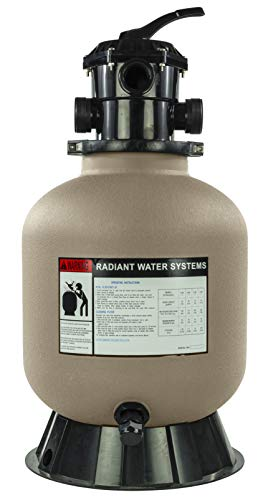Rx Clear Radiant Sand Filter | for Above Ground Swimming Pools | 16 Inch Tank | 6-Position Valve | Comes with 1.5 Inch Threaded Connections | 110 Pound Sand Capacity | Up to 16,000 Gallons