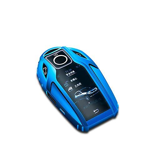 ZFTB Carcasa de TPU suave para coche, totalmente inteligente, compatible con BMW 7 Series 740 6 Series Gt 5 Series 530I X3 Display Key Accessories Azul