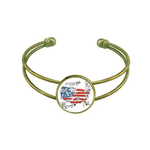 DIYthinker America Map Liberty Word Illustration Armband Armreif Retro Open Cuff Schmuck