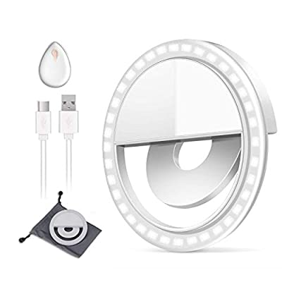Selfie Light, BESTTY Super Slim [Rechargable Battery] Selfie Ring Light for Camera Selfie LED Camera Photography Light, Protection Eyes Natural Light (White) from BESTTY