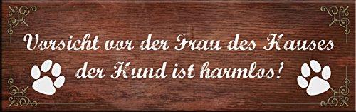 Creativ Deluxe Vorsicht vor der Frau des Hauses 30x10 cm/Metallschild/Blechschild/Dekoschild/Wandschild/wetterfest/Innenbereich/Außenbereich/Motivation/Vintage