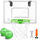 Mini Indoor Basketball Hoop Glow in The Dark - Pro Mini Basketball Hoop Set for Door & Wall with...