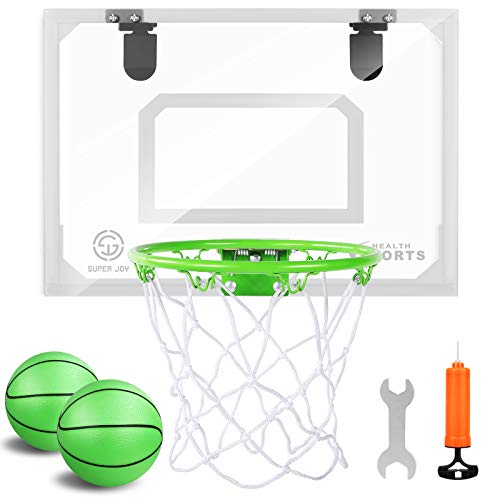 Mini Indoor Basketball Hoop Glow in The Dark - Pro Mini Basketball Hoop Set for Door & Wall with Complete Accessories, Toy Basketball Hoop for Boys Girls