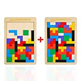 EKKONG 2 Pezzi Puzzle di Legno Tetris,Tangram di Puzzle di Legno giocattol,Tetris Giocattolo di intelligenza Colorata,Regali per Bambini