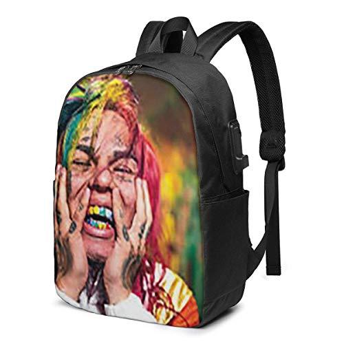 6ix9ine Laptop Bapa School Bag Daypa Adjustable for Women Men with USB Charging Port 17inch