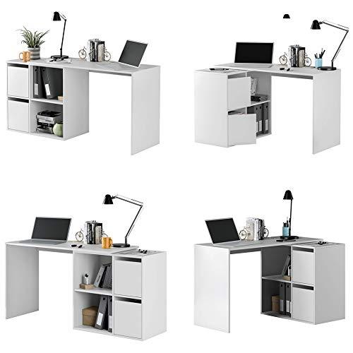 HABITMOBEL Mueble Escritorio, Mesa de despacho, Color Blanco Artik, Medidas: 74 x 120 x 77 cm …