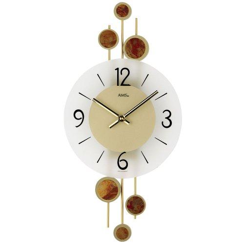 AMS Reloj de pared 9389cuarzo Metal Decorativa cojines Cristal Mineral
