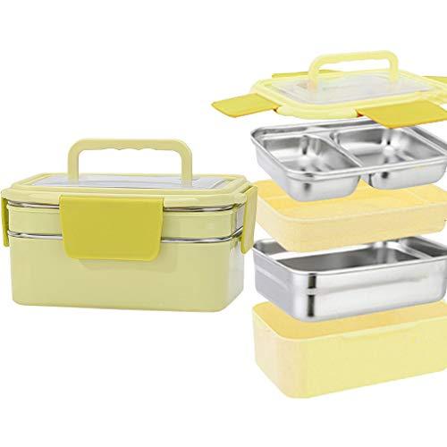 Brotdose,Auslaufsichere japanische Bento-Lunchbox mit Tragegriffbox 1200 ml / 41Oz für Kinder Erwachsene Büro Schule,Gelb