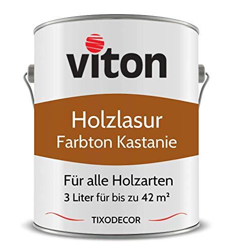 3 Liter Holzlasur von Viton - Farbe Kastanie - 3in1 Seidenmatt - Holzschutzlasur, Lasur für Holz - Extra starker Schutz für Innen und Außen - Wetterfest, Atmungsaktiv & UV-beständig - Tixodecor