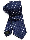 WANDM Men's Slim Skinny Tie Business Necktie Width 2.4 inches Washable Polka Dot A Navy Dark Blue